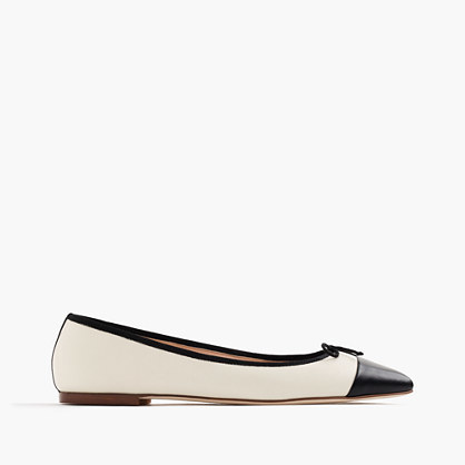 Gemma Cap Toe Flats - secondary colour: ivory/cream; predominant colour: black; occasions: casual, creative work; material: leather; heel height: flat; toe: round toe; style: ballerinas / pumps; trends: monochrome; finish: plain; pattern: colourblock; embellishment: bow; season: s/s 2016; wardrobe: highlight