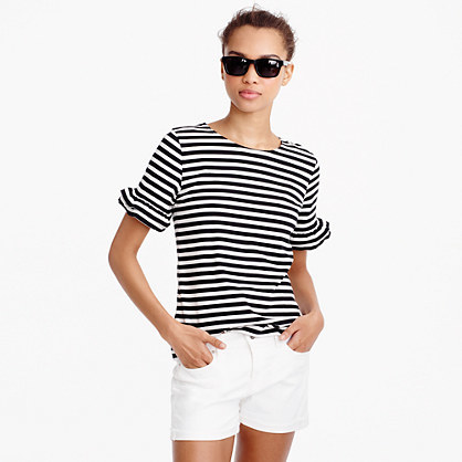 Ruffle Sleeve T Shirt In Stripe - pattern: horizontal stripes; style: t-shirt; secondary colour: white; predominant colour: black; occasions: casual; length: standard; fibres: cotton - stretch; fit: body skimming; neckline: crew; sleeve length: short sleeve; sleeve style: standard; pattern type: fabric; texture group: jersey - stretchy/drapey; multicoloured: multicoloured; season: s/s 2016