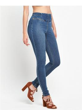 Zip Front Denim Jegging - length: standard; pattern: plain; style: jeggings; waist: mid/regular rise; predominant colour: denim; occasions: casual, creative work; fibres: cotton - stretch; texture group: denim; pattern type: fabric; season: s/s 2016; wardrobe: basic