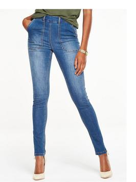 Carpenter Skinny Jean - style: skinny leg; length: standard; pattern: plain; waist: high rise; predominant colour: denim; occasions: casual; fibres: cotton - stretch; texture group: denim; pattern type: fabric; season: s/s 2016; wardrobe: basic