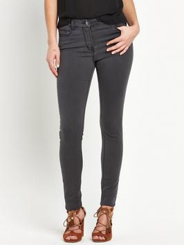 Petite Ella Supersoft Skinny Jean - style: skinny leg; length: standard; pattern: plain; pocket detail: traditional 5 pocket; waist: mid/regular rise; predominant colour: charcoal; occasions: casual; fibres: cotton - stretch; texture group: denim; pattern type: fabric; season: s/s 2016; wardrobe: highlight