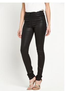 Petite High Rise Ella Coated Supersoft Skinny Jean - style: skinny leg; length: standard; pattern: plain; waist: high rise; predominant colour: black; occasions: evening; fibres: cotton - stretch; texture group: waxed cotton; pattern type: fabric; season: s/s 2016; wardrobe: event