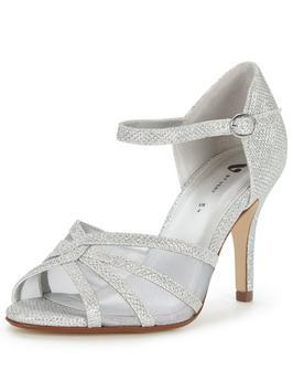 Fortune Mid Heel Sparkle Occasion Sandal - predominant colour: silver; occasions: evening, occasion; material: faux leather; heel height: high; embellishment: glitter; ankle detail: ankle strap; heel: stiletto; toe: open toe/peeptoe; style: strappy; finish: metallic; pattern: plain; season: s/s 2016; wardrobe: event
