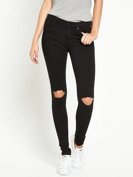 Joi High Waisted Skinny Black - style: skinny leg; length: standard; pattern: plain; waist: high rise; pocket detail: traditional 5 pocket; predominant colour: black; occasions: casual; fibres: cotton - stretch; texture group: denim; pattern type: fabric; jeans detail: rips; season: s/s 2016; wardrobe: basic