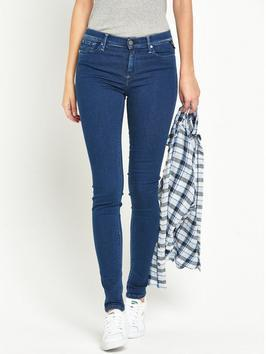 Joi High Waisted Skinny Mid Blue - style: skinny leg; length: standard; pattern: plain; waist: high rise; pocket detail: traditional 5 pocket; predominant colour: navy; occasions: casual; fibres: cotton - stretch; texture group: denim; pattern type: fabric; season: s/s 2016; wardrobe: basic