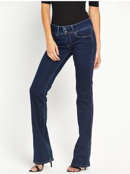 Grace Mid Rise Bootcut Jean - style: bootcut; length: standard; pattern: plain; pocket detail: traditional 5 pocket; waist: mid/regular rise; predominant colour: navy; occasions: casual; fibres: cotton - stretch; jeans detail: dark wash; texture group: denim; pattern type: fabric; season: s/s 2016; wardrobe: basic