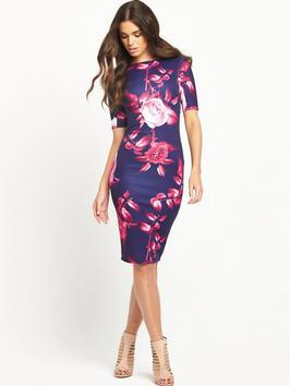 &Frac34; Sleeves Floral Midi Dress - neckline: slash/boat neckline; fit: tight; style: bodycon; predominant colour: hot pink; secondary colour: navy; occasions: evening, occasion; length: on the knee; fibres: polyester/polyamide - 100%; sleeve length: short sleeve; sleeve style: standard; texture group: jersey - clingy; pattern type: fabric; pattern size: big & busy; pattern: florals; season: s/s 2016; wardrobe: event