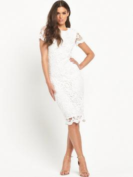 Crochet Fitted Dress - style: shift; length: below the knee; fit: tailored/fitted; predominant colour: white; occasions: evening, occasion; fibres: polyester/polyamide - 100%; neckline: crew; sleeve length: short sleeve; sleeve style: standard; texture group: lace; pattern type: fabric; pattern size: standard; pattern: patterned/print; season: s/s 2016; wardrobe: event