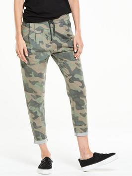 Camo Jogpant - style: tracksuit pants; waist: mid/regular rise; predominant colour: khaki; secondary colour: stone; occasions: casual; length: ankle length; fibres: cotton - stretch; fit: tapered; pattern type: fabric; texture group: other - light to midweight; pattern: camouflage; season: s/s 2016; wardrobe: highlight