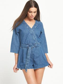Denim Kimono Playsuit - neckline: v-neck; pattern: plain; waist detail: belted waist/tie at waist/drawstring; length: short shorts; predominant colour: denim; occasions: casual; fit: body skimming; fibres: cotton - 100%; sleeve length: 3/4 length; sleeve style: standard; texture group: denim; style: playsuit; pattern type: fabric; season: s/s 2016; wardrobe: highlight