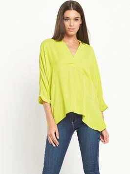 Wrap Asymmetric Hem Blouse - neckline: v-neck; pattern: plain; style: blouse; predominant colour: lime; occasions: casual, creative work; length: standard; fibres: viscose/rayon - 100%; fit: loose; sleeve length: 3/4 length; sleeve style: standard; texture group: crepes; pattern type: fabric; season: s/s 2016; wardrobe: highlight
