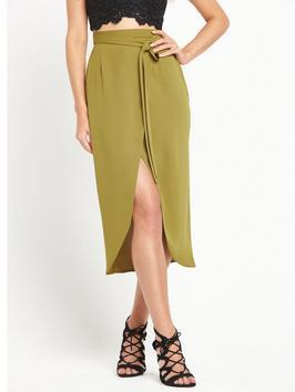 Wrap Midi Skirt - length: calf length; pattern: plain; style: wrap/faux wrap; fit: body skimming; waist: high rise; waist detail: belted waist/tie at waist/drawstring; predominant colour: lime; occasions: evening; fibres: polyester/polyamide - 100%; pattern type: fabric; texture group: other - light to midweight; season: s/s 2016; wardrobe: event