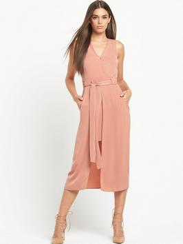 Sleeveless Wrap Waisted Dress - style: faux wrap/wrap; length: calf length; neckline: v-neck; pattern: plain; sleeve style: sleeveless; waist detail: belted waist/tie at waist/drawstring; predominant colour: pink; occasions: evening, occasion; fit: body skimming; fibres: polyester/polyamide - 100%; sleeve length: sleeveless; pattern type: fabric; texture group: other - light to midweight; season: s/s 2016; wardrobe: event