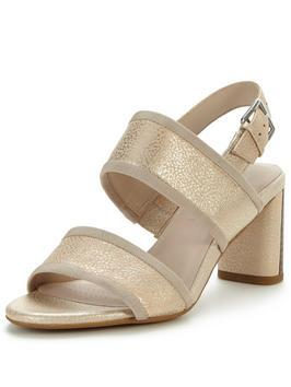 Amali Ava Heeled Two Strap Sandal - predominant colour: gold; occasions: evening; material: faux leather; heel height: high; ankle detail: ankle strap; heel: block; toe: open toe/peeptoe; style: strappy; finish: plain; pattern: plain; season: s/s 2016