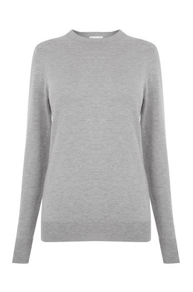 Crew Jumper - neckline: round neck; pattern: plain; style: standard; predominant colour: mid grey; occasions: casual, work, activity; length: standard; fibres: cotton - mix; fit: standard fit; sleeve length: long sleeve; sleeve style: standard; texture group: knits/crochet; pattern type: knitted - fine stitch; season: s/s 2016