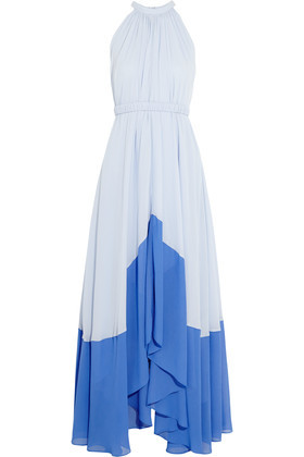 Iris Two Tone Georgette Halterneck Maxi Dress Blue - sleeve style: sleeveless; style: maxi dress; waist detail: belted waist/tie at waist/drawstring; secondary colour: royal blue; predominant colour: pale blue; occasions: evening; length: floor length; fit: body skimming; fibres: viscose/rayon - 100%; sleeve length: sleeveless; pattern type: fabric; pattern: colourblock; texture group: other - light to midweight; multicoloured: multicoloured; season: s/s 2016; neckline: high halter neck; wardrobe: event