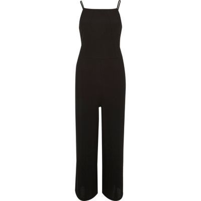 Womens Black Square Neck Culotte Jumpsuit - length: standard; pattern: plain; sleeve style: sleeveless; predominant colour: black; occasions: evening; fit: body skimming; fibres: polyester/polyamide - 100%; sleeve length: sleeveless; style: jumpsuit; neckline: medium square neck; pattern type: fabric; texture group: jersey - stretchy/drapey; season: s/s 2016; wardrobe: event