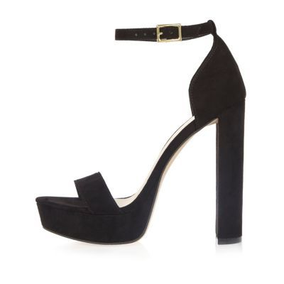 Womens Black Double Strap Platform Heels - predominant colour: black; occasions: evening; material: faux leather; ankle detail: ankle strap; heel: standard; toe: open toe/peeptoe; style: standard; finish: plain; pattern: plain; heel height: very high; shoe detail: platform; season: s/s 2016