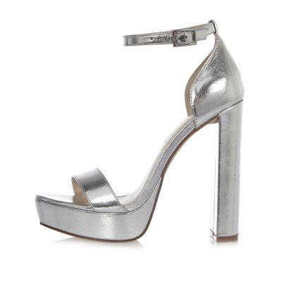 Womens Silver Double Strappy Platform Heels - predominant colour: silver; occasions: evening; material: faux leather; ankle detail: ankle strap; heel: standard; toe: open toe/peeptoe; style: standard; finish: metallic; pattern: plain; heel height: very high; shoe detail: platform; season: s/s 2016; wardrobe: event