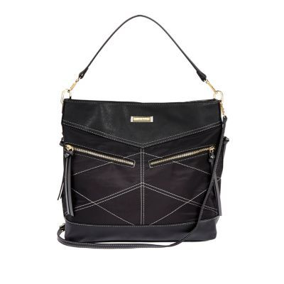 Womens Black Whipstitch Tote Bag - predominant colour: black; occasions: casual, creative work; type of pattern: standard; style: shoulder; length: shoulder (tucks under arm); size: standard; material: faux leather; embellishment: zips; pattern: plain; finish: plain; season: s/s 2016
