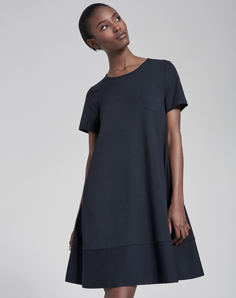 Woven Mix Swing Dress Navy - style: trapeze; fit: loose; pattern: plain; predominant colour: black; occasions: evening; length: just above the knee; fibres: cotton - 100%; neckline: crew; sleeve length: short sleeve; sleeve style: standard; pattern type: fabric; texture group: jersey - stretchy/drapey; season: s/s 2016; wardrobe: event