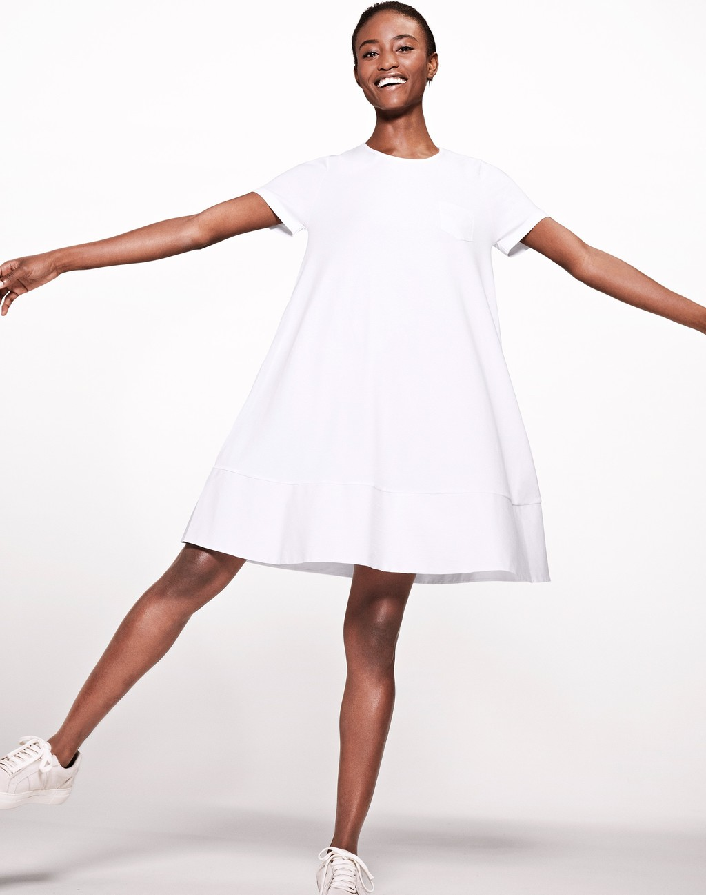Woven Mix Swing Dress Soft White - style: trapeze; fit: loose; pattern: plain; predominant colour: white; occasions: casual; length: just above the knee; fibres: cotton - 100%; neckline: crew; sleeve length: short sleeve; sleeve style: standard; pattern type: fabric; texture group: jersey - stretchy/drapey; season: s/s 2016; wardrobe: basic