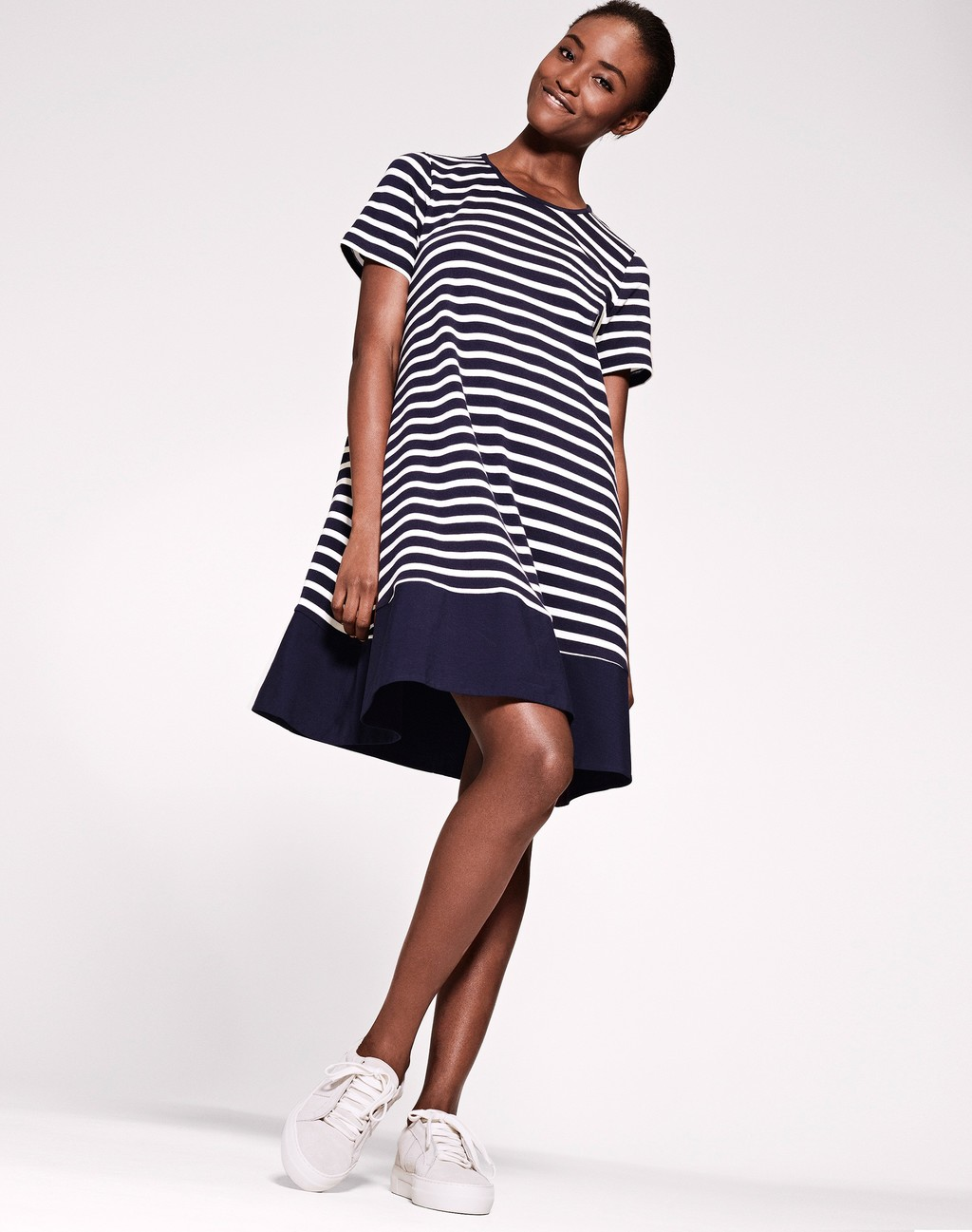 Woven Mix Swing Dress Navy/White Stripe - style: trapeze; fit: loose; pattern: horizontal stripes; secondary colour: white; predominant colour: navy; occasions: casual; length: just above the knee; fibres: cotton - 100%; neckline: crew; sleeve length: short sleeve; sleeve style: standard; pattern type: fabric; texture group: woven light midweight; multicoloured: multicoloured; season: s/s 2016; wardrobe: basic