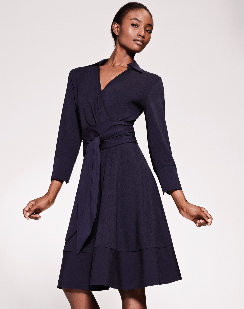 All Day Dress Navy - style: faux wrap/wrap; length: below the knee; neckline: shirt collar/peter pan/zip with opening; pattern: plain; waist detail: belted waist/tie at waist/drawstring; predominant colour: navy; occasions: evening; fit: body skimming; fibres: cotton - stretch; sleeve length: 3/4 length; sleeve style: standard; pattern type: fabric; texture group: jersey - stretchy/drapey; season: s/s 2016; wardrobe: event