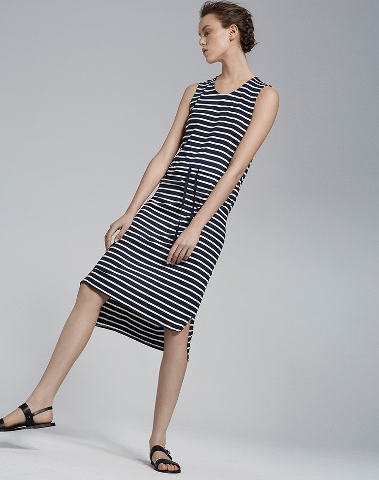 Breton Midi Dress Soft White/Navy - pattern: horizontal stripes; sleeve style: sleeveless; style: sundress; waist detail: belted waist/tie at waist/drawstring; secondary colour: light grey; predominant colour: black; occasions: casual; length: on the knee; fit: body skimming; neckline: crew; sleeve length: sleeveless; pattern type: fabric; texture group: jersey - stretchy/drapey; fibres: viscose/rayon - mix; multicoloured: multicoloured; season: s/s 2016; wardrobe: basic
