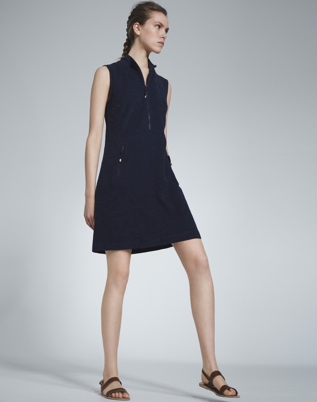 Towelling Dress Navy - style: shirt; neckline: shirt collar/peter pan/zip with opening; pattern: plain; sleeve style: sleeveless; predominant colour: navy; occasions: casual; length: just above the knee; fit: body skimming; fibres: cotton - 100%; sleeve length: sleeveless; pattern type: fabric; texture group: other - light to midweight; season: s/s 2016; wardrobe: basic