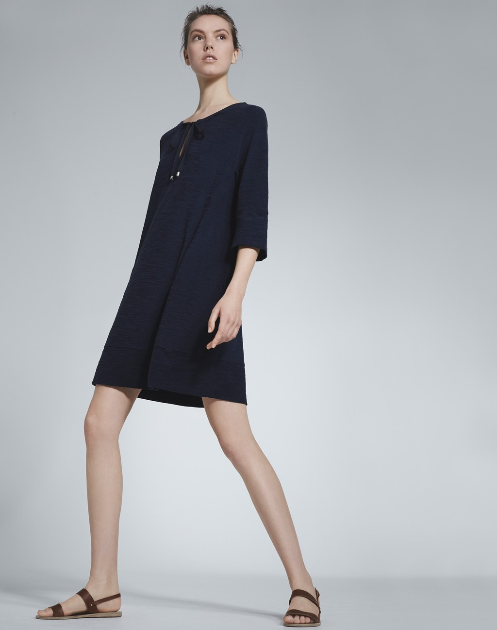 Towelling Kaftan Dress Navy - style: trapeze; fit: loose; pattern: plain; predominant colour: navy; occasions: casual; length: just above the knee; neckline: peep hole neckline; fibres: cotton - 100%; sleeve length: 3/4 length; sleeve style: standard; texture group: cotton feel fabrics; pattern type: fabric; season: s/s 2016; wardrobe: basic