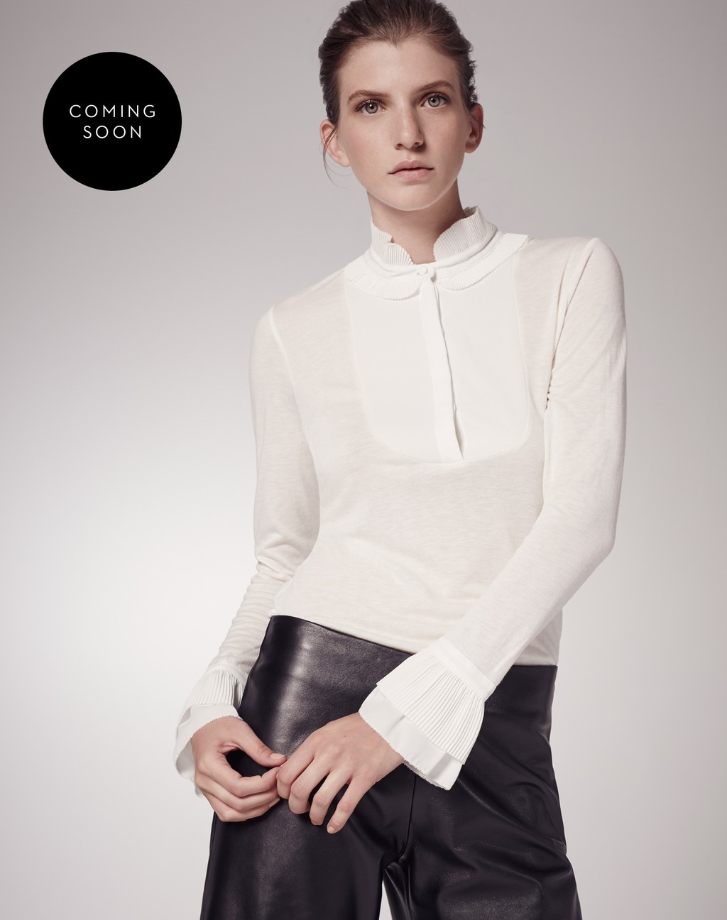 Pleated Collar Layering Shirt - pattern: plain; style: blouse; sleeve style: trumpet; predominant colour: white; occasions: evening; length: standard; neckline: collarstand; fibres: polyester/polyamide - mix; fit: body skimming; sleeve length: long sleeve; pattern type: fabric; texture group: other - light to midweight; season: s/s 2016; wardrobe: event