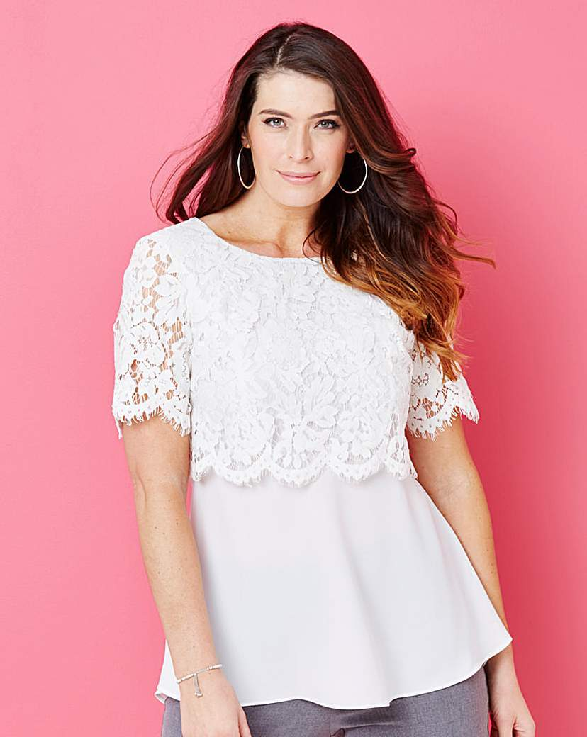 Layered Lace Top - predominant colour: white; occasions: casual; length: standard; style: top; fibres: polyester/polyamide - 100%; fit: body skimming; neckline: crew; sleeve length: short sleeve; sleeve style: standard; texture group: lace; pattern type: fabric; pattern: patterned/print; embellishment: lace; season: s/s 2016