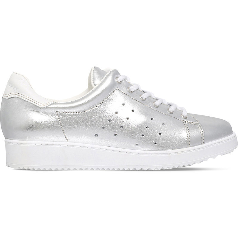 Latitude Metallic Leather Trainers, Women's, Eur 36 / 3 Uk Women, Silver - predominant colour: silver; occasions: casual; material: leather; heel height: flat; toe: round toe; style: trainers; finish: metallic; pattern: plain; shoe detail: platform; season: s/s 2016