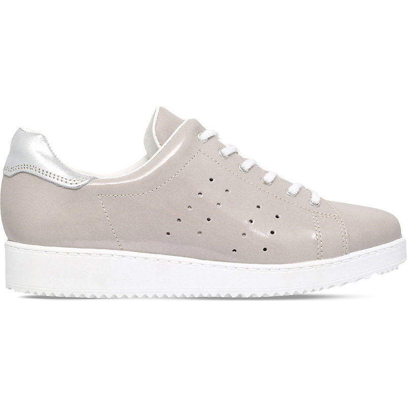 Latitude Lace Up Patent Trainers, Women's, Eur 41 / 8 Uk Women, Grey - predominant colour: light grey; occasions: casual; material: leather; heel height: flat; toe: round toe; style: trainers; finish: patent; pattern: plain; shoe detail: platform; season: s/s 2016; wardrobe: highlight