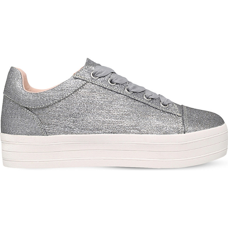 Lupo Metallic Flatform Trainers, Women's, Eur 40 / 7 Uk Women, Silver - predominant colour: silver; occasions: casual; material: faux leather; heel height: flat; toe: pointed toe; style: trainers; finish: metallic; pattern: plain; shoe detail: platform; season: s/s 2016; wardrobe: highlight