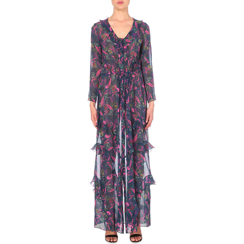 Izzie Silk Maxi Dress, Women's, Rasberry Eden - neckline: v-neck; fit: fitted at waist; style: maxi dress; secondary colour: hot pink; predominant colour: navy; occasions: casual; length: floor length; fibres: silk - 100%; sleeve length: long sleeve; sleeve style: standard; texture group: sheer fabrics/chiffon/organza etc.; pattern type: fabric; pattern: patterned/print; season: s/s 2016; wardrobe: highlight