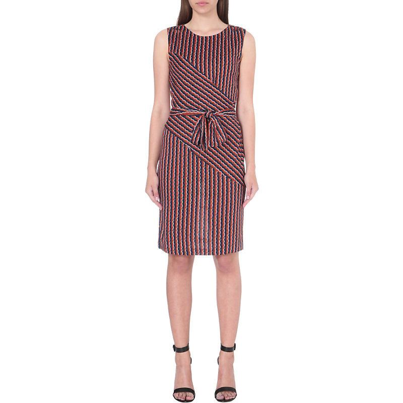 Ashlie Silk Jersey Faux Wrap Dress, Women's, Rickrack Khaki - style: shift; neckline: round neck; sleeve style: sleeveless; pattern: striped; waist detail: belted waist/tie at waist/drawstring; secondary colour: true red; predominant colour: navy; occasions: casual, creative work; length: just above the knee; fit: body skimming; fibres: silk - mix; sleeve length: sleeveless; texture group: crepes; pattern type: fabric; season: s/s 2016; wardrobe: highlight