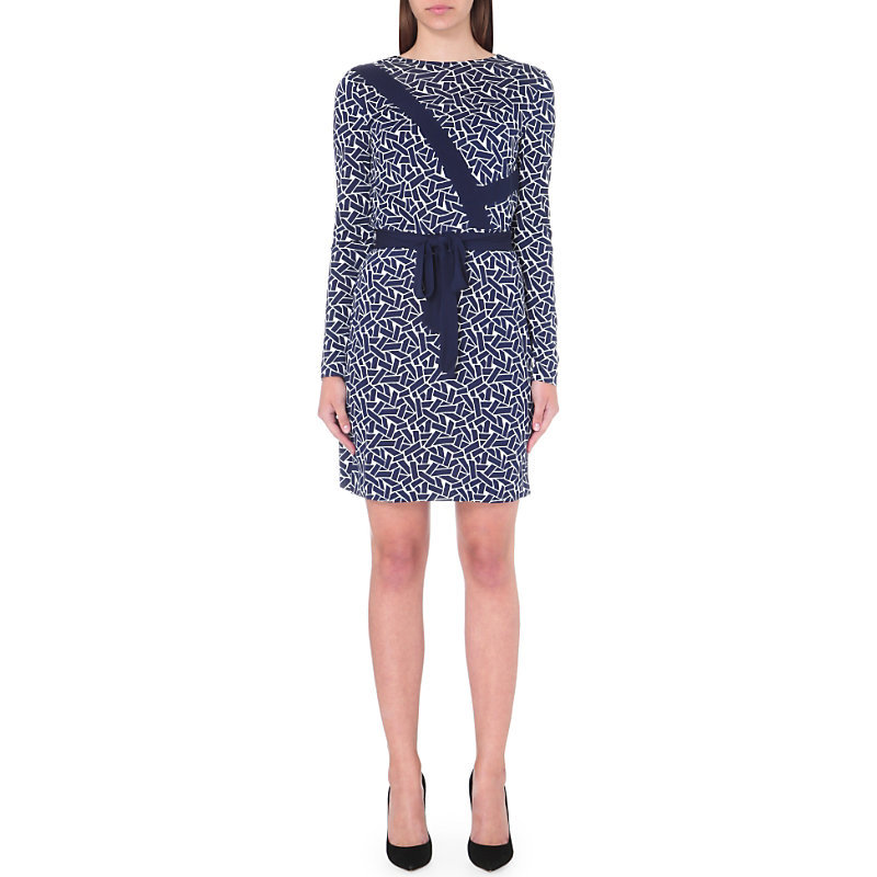 Vienna Silk Jersey Wrap Dress, Women's, Ribbon Weave Mini - style: shift; secondary colour: white; predominant colour: royal blue; occasions: evening, work; length: just above the knee; fit: body skimming; fibres: silk - 100%; neckline: crew; sleeve length: long sleeve; sleeve style: standard; texture group: crepes; pattern type: fabric; pattern: patterned/print; season: s/s 2016; wardrobe: highlight