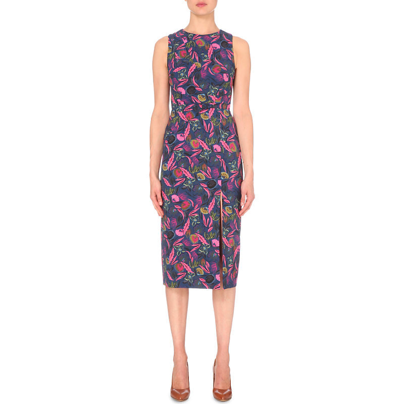 Justine Stretch Crepe Dress, Women's, Rasberry Eden - style: shift; length: below the knee; fit: tailored/fitted; sleeve style: sleeveless; secondary colour: hot pink; predominant colour: navy; occasions: evening; fibres: silk - 100%; neckline: crew; sleeve length: sleeveless; pattern type: fabric; pattern: patterned/print; texture group: jersey - stretchy/drapey; multicoloured: multicoloured; season: s/s 2016; wardrobe: event