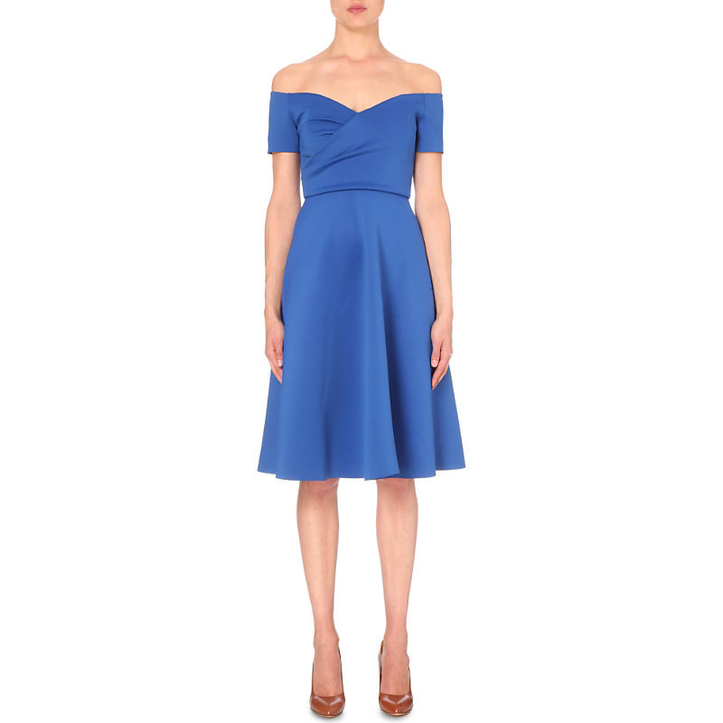 Rachele Jersey Off The Shoulder Dress, Women's, Royal Blue - length: below the knee; neckline: off the shoulder; pattern: plain; style: full skirt; predominant colour: royal blue; occasions: evening; fit: fitted at waist & bust; fibres: polyester/polyamide - mix; sleeve length: short sleeve; sleeve style: standard; pattern type: fabric; texture group: jersey - stretchy/drapey; season: s/s 2016