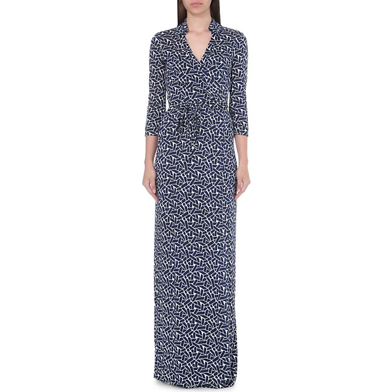 Abigail Silk Jersey Wrap Dress, Women's, Ribbon Weave - style: faux wrap/wrap; neckline: v-neck; waist detail: belted waist/tie at waist/drawstring; secondary colour: white; predominant colour: navy; occasions: evening; length: floor length; fit: body skimming; fibres: silk - 100%; sleeve length: 3/4 length; sleeve style: standard; pattern type: fabric; pattern: patterned/print; texture group: jersey - stretchy/drapey; multicoloured: multicoloured; season: s/s 2016; wardrobe: event