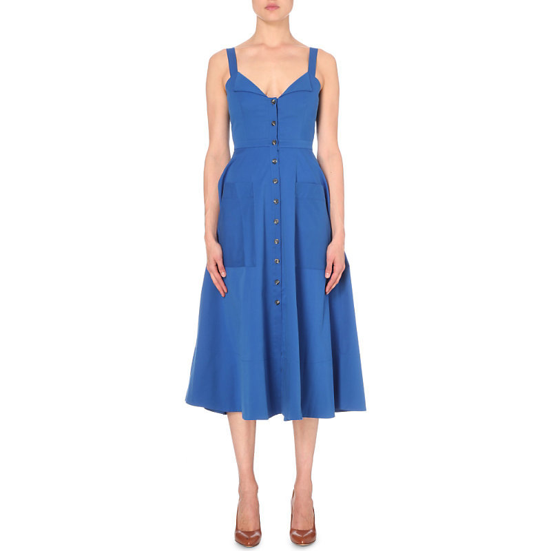 Fara Stretch Cotton Dress, Women's, Royal Blue - length: calf length; neckline: v-neck; pattern: plain; sleeve style: sleeveless; predominant colour: royal blue; occasions: evening; fit: fitted at waist & bust; style: fit & flare; fibres: cotton - stretch; sleeve length: sleeveless; pattern type: fabric; texture group: jersey - stretchy/drapey; season: s/s 2016; wardrobe: event
