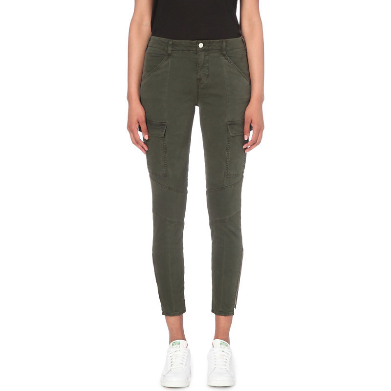 Houlihan Military Skinny Mid Rise Jeans, Women's, Distressed Caledon - style: skinny leg; pattern: plain; waist: high rise; pocket detail: traditional 5 pocket; predominant colour: charcoal; occasions: casual, creative work; length: ankle length; fibres: cotton - stretch; texture group: denim; pattern type: fabric; season: s/s 2016