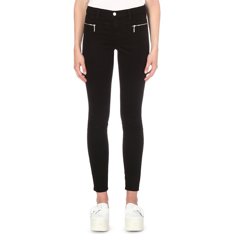 Miranda Skinny Mid Rise Sateen Jeans, Women's, Black - style: skinny leg; pattern: plain; waist: low rise; predominant colour: black; occasions: casual; length: ankle length; fibres: cotton - stretch; texture group: denim; pattern type: fabric; season: s/s 2016; wardrobe: basic