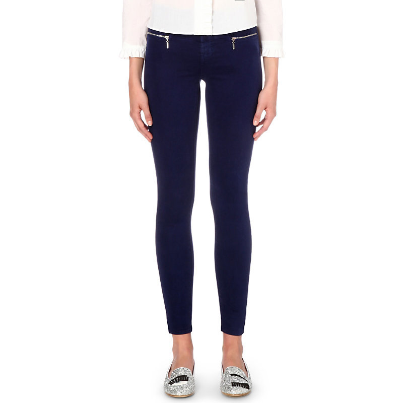 Miranda Skinny Mid Rise Sateen Jeans, Women's, Eclipse - style: skinny leg; pattern: plain; waist: mid/regular rise; predominant colour: navy; occasions: casual, creative work; length: ankle length; fibres: cotton - stretch; jeans detail: dark wash; texture group: denim; pattern type: fabric; embellishment: zips; season: s/s 2016; wardrobe: basic