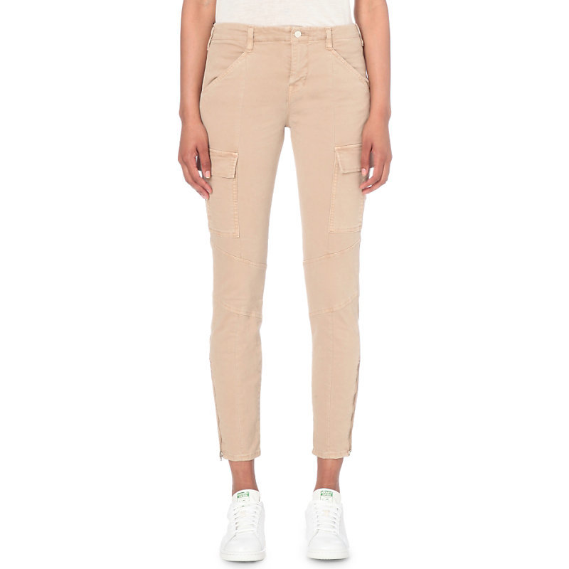 Houlihan Military Skinny Mid Rise Jeans, Women's, Distressed Sand Sky - style: skinny leg; pattern: plain; pocket detail: traditional 5 pocket; waist: mid/regular rise; predominant colour: nude; occasions: casual; length: ankle length; fibres: cotton - stretch; texture group: denim; pattern type: fabric; season: s/s 2016; wardrobe: highlight