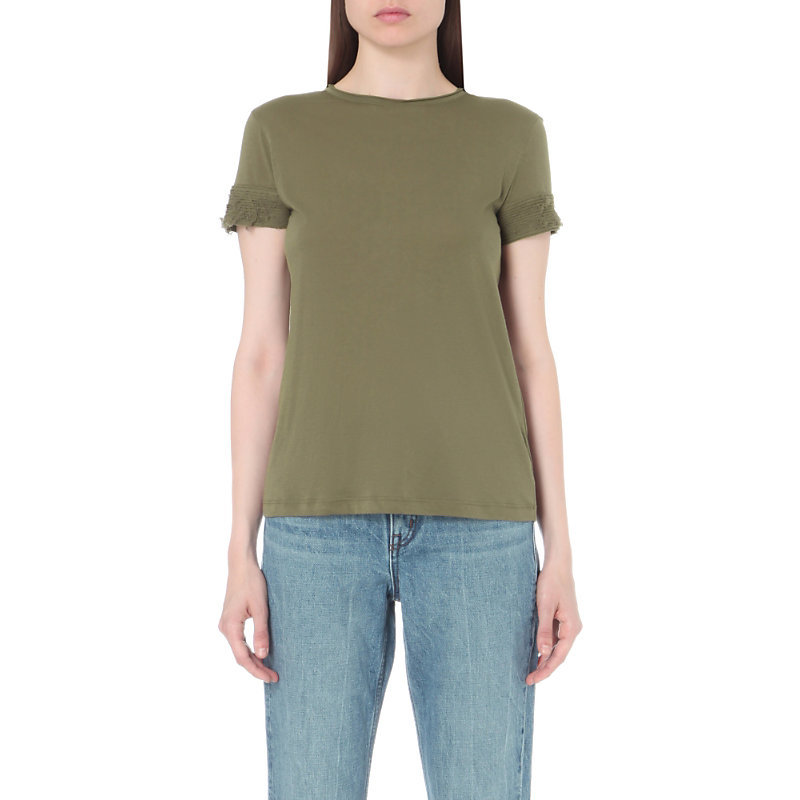 Distressed Jersey And Cashmere Blend T Shirt, Women's, Size: Medium, Army - pattern: plain; style: t-shirt; predominant colour: khaki; occasions: casual; length: standard; fit: body skimming; neckline: crew; sleeve length: short sleeve; sleeve style: standard; pattern type: fabric; texture group: jersey - stretchy/drapey; fibres: cashmere - mix; season: s/s 2016
