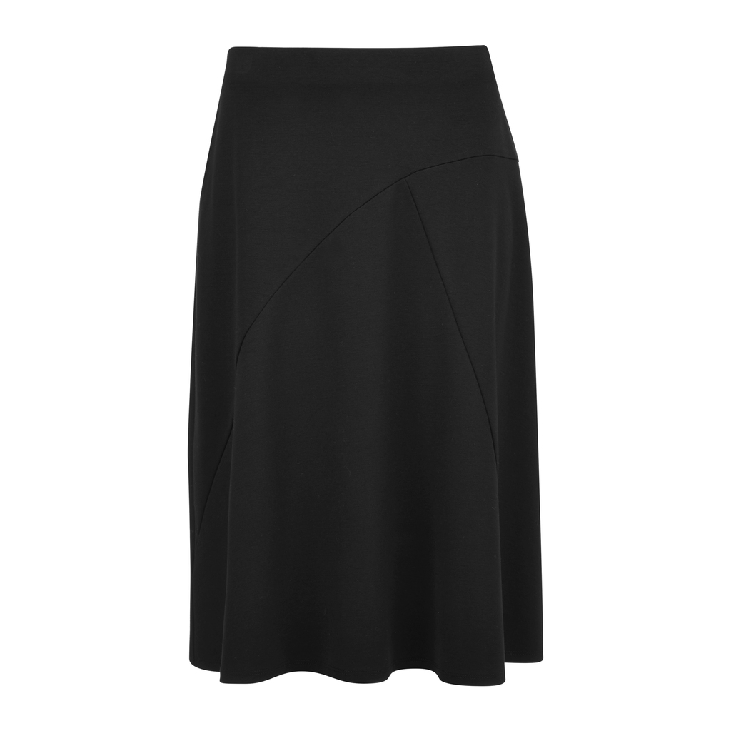 Fit And Flare Ponte Skirt - pattern: plain; fit: body skimming; waist: mid/regular rise; predominant colour: black; occasions: evening; length: on the knee; style: fit & flare; fibres: viscose/rayon - stretch; pattern type: fabric; texture group: jersey - stretchy/drapey; season: s/s 2016; wardrobe: event