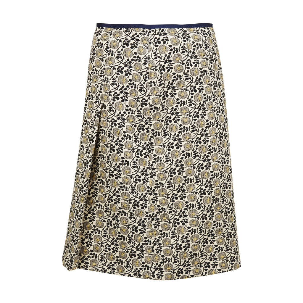 Floral Jacquard A Line Skirt - fit: loose/voluminous; waist: mid/regular rise; secondary colour: navy; predominant colour: nude; occasions: casual; length: on the knee; style: a-line; fibres: polyester/polyamide - stretch; pattern type: fabric; pattern: florals; texture group: brocade/jacquard; pattern size: big & busy (bottom); multicoloured: multicoloured; season: s/s 2016; wardrobe: highlight